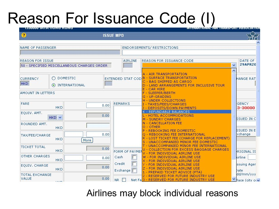Reason For Issuance Code (I)