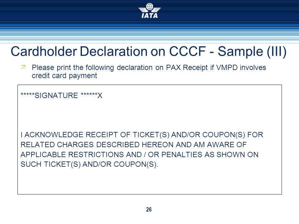 Cardholder Declaration on CCCF - Sample (III)