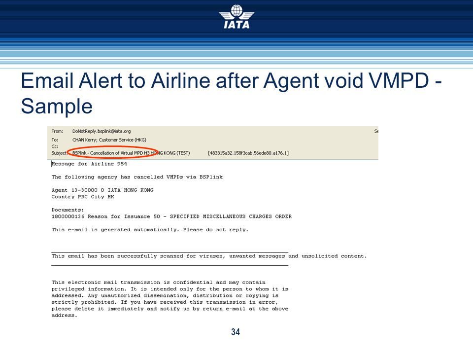 Email Alert to Airline after Agent void VMPD - Sample