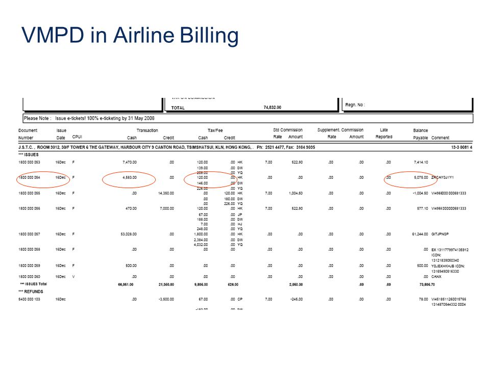 VMPD in Airline Billing
