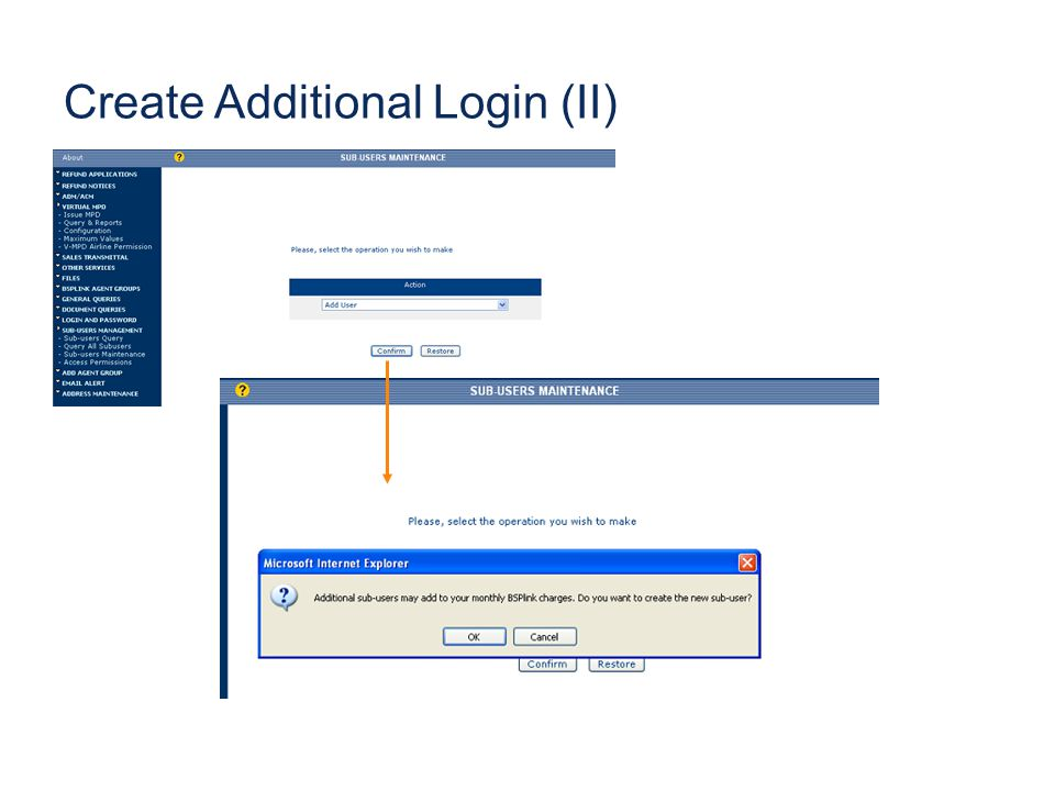 Create Additional Login (II)