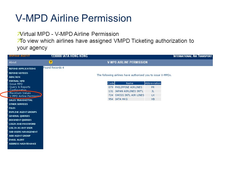 V-MPD Airline Permission