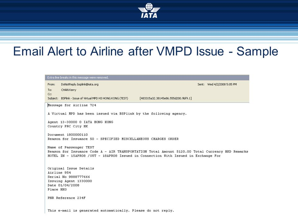 Email Alert to Airline after VMPD Issue - Sample