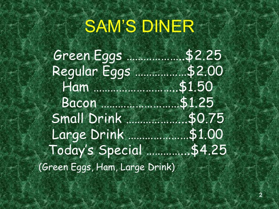 Green Eggs ………………..$2.25 Regular Eggs ………………$2.00. Ham ………………………..$1.50. Bacon ………………………$1.25. Small Drink ………………...$0.75.