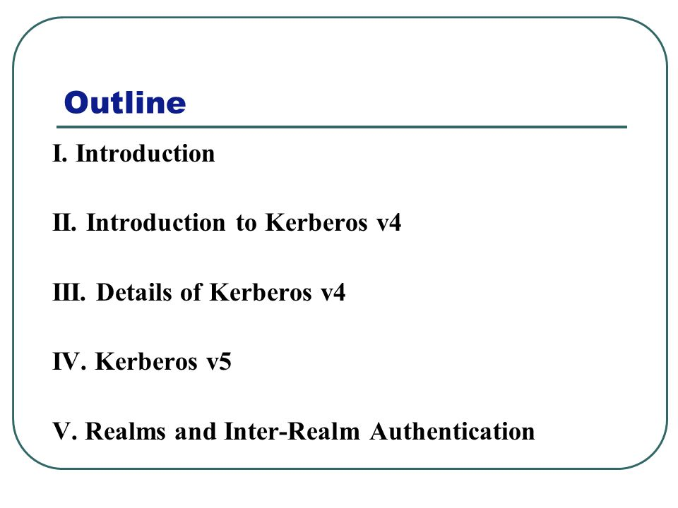 Outline I. Introduction II. Introduction to Kerberos v4