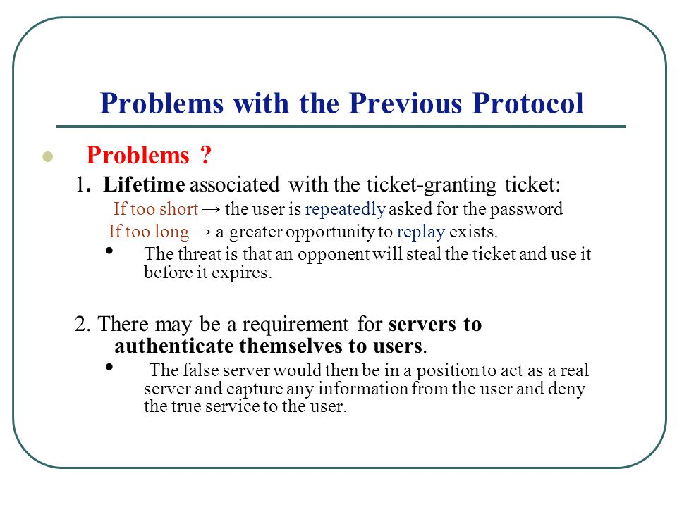 Problems with the Previous Protocol