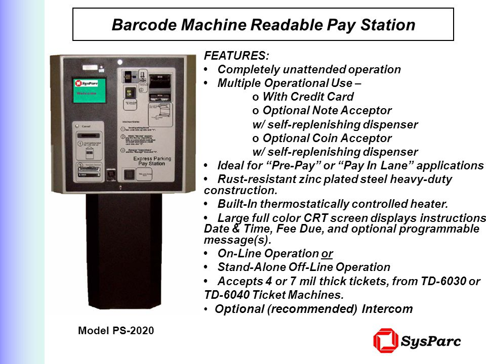 Barcode Machine Readable Pay Station