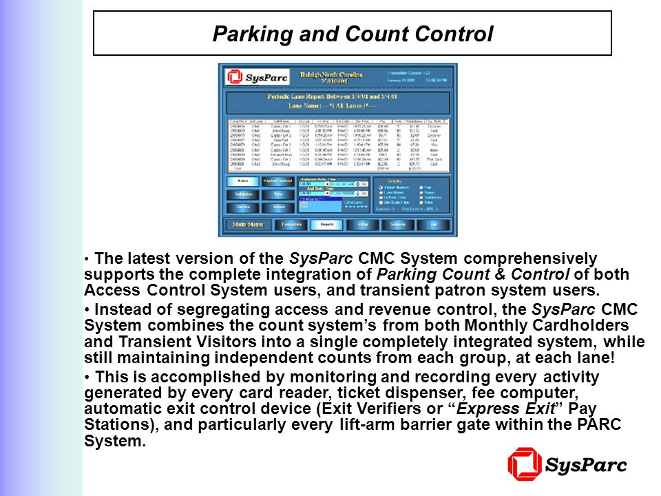 Parking and Count Control