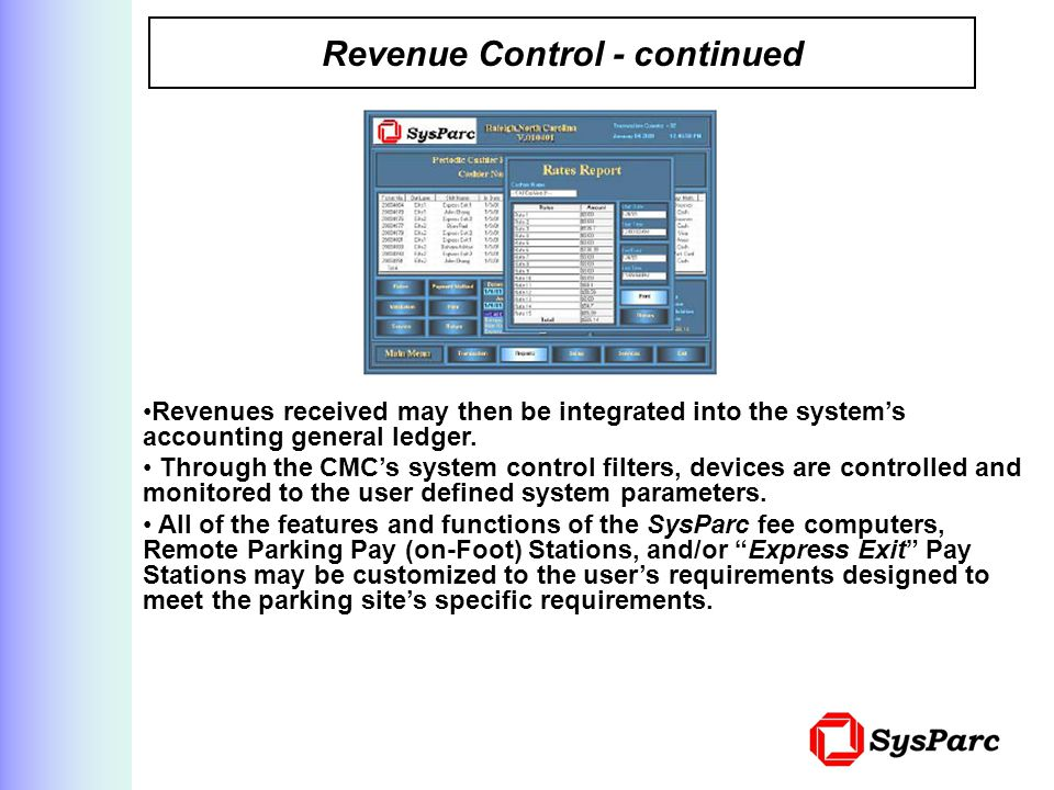 Revenue Control - continued
