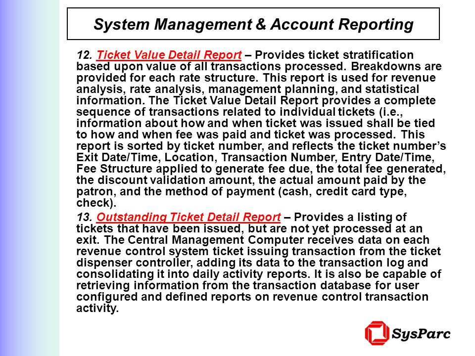 System Management & Account Reporting
