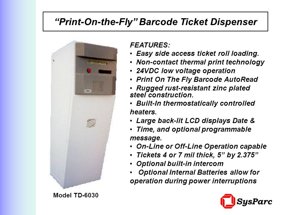 Print-On-the-Fly Barcode Ticket Dispenser