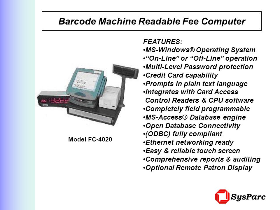Barcode Machine Readable Fee Computer