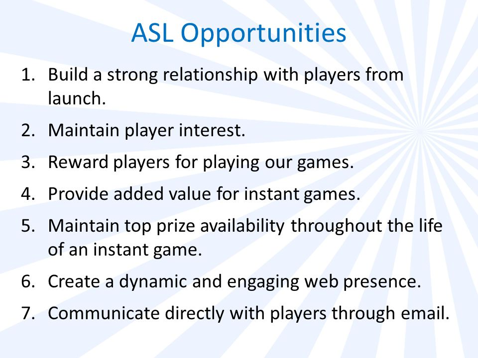 Program Introduction ASL online player services fall under the umbrella players' club named The Club.