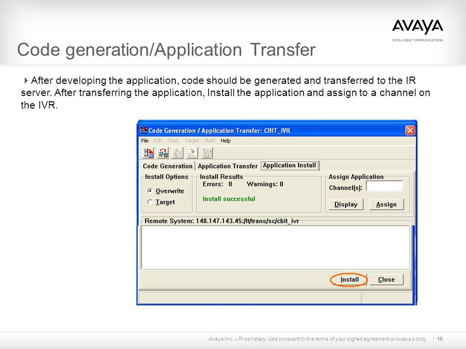 Code generation/Application Transfer