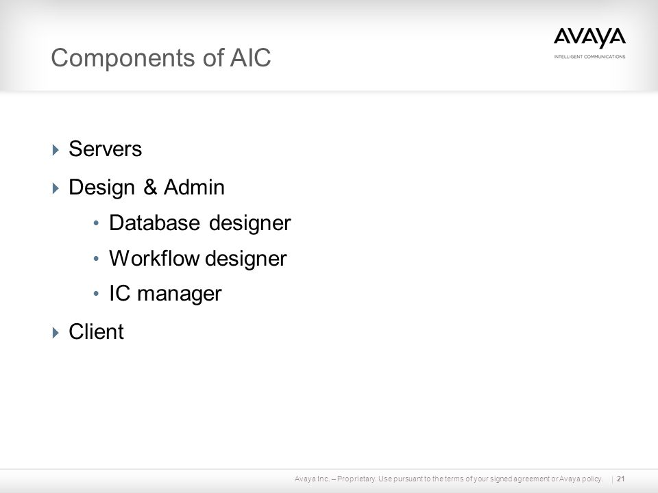 Components of AIC Servers Design & Admin Database designer