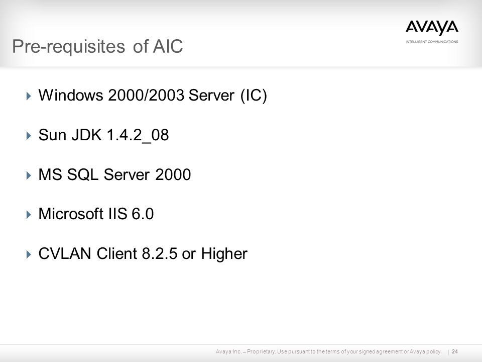 Pre-requisites of AIC Windows 2000/2003 Server (IC) Sun JDK 1.4.2_08