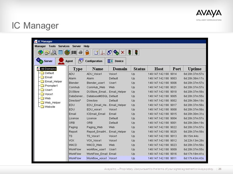 IC Manager Avaya Inc. – Proprietary. Use pursuant to the terms of your signed agreement or Avaya policy.