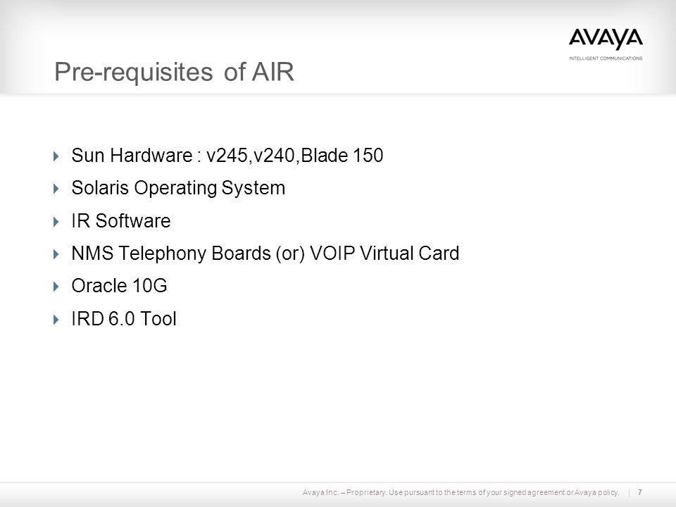Pre-requisites of AIR Sun Hardware : v245,v240,Blade 150