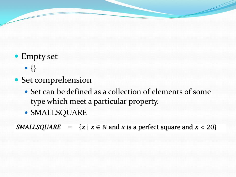 Empty set Set comprehension {}