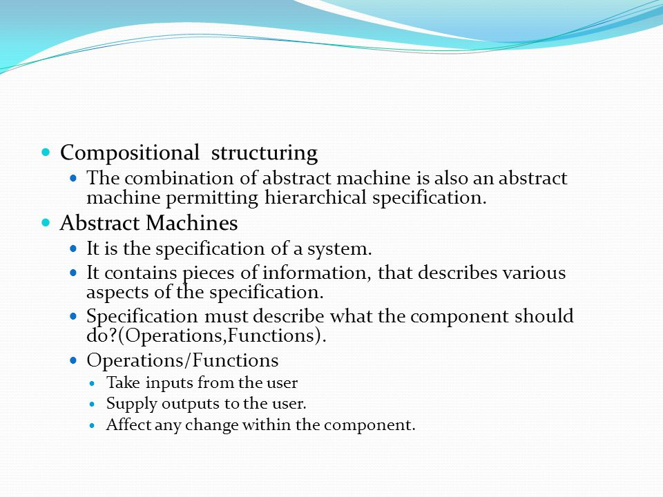 Compositional structuring Abstract Machines