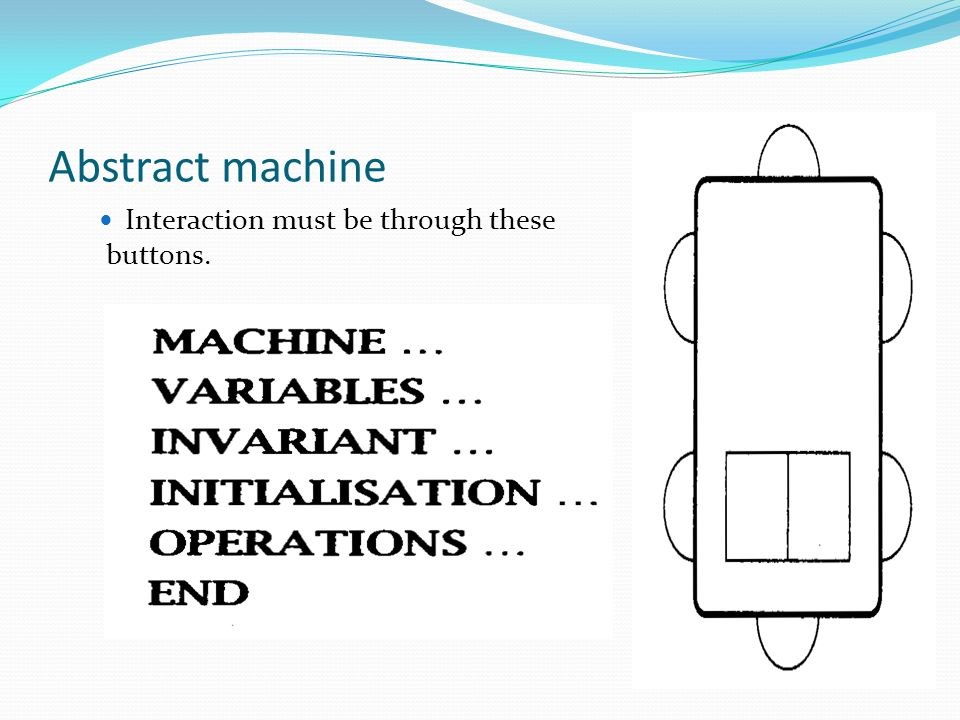 Abstract machine Interaction must be through these buttons.