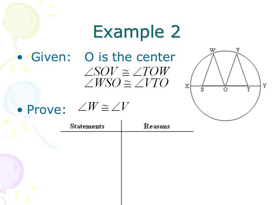 Example 2 Given: O is the center Prove: