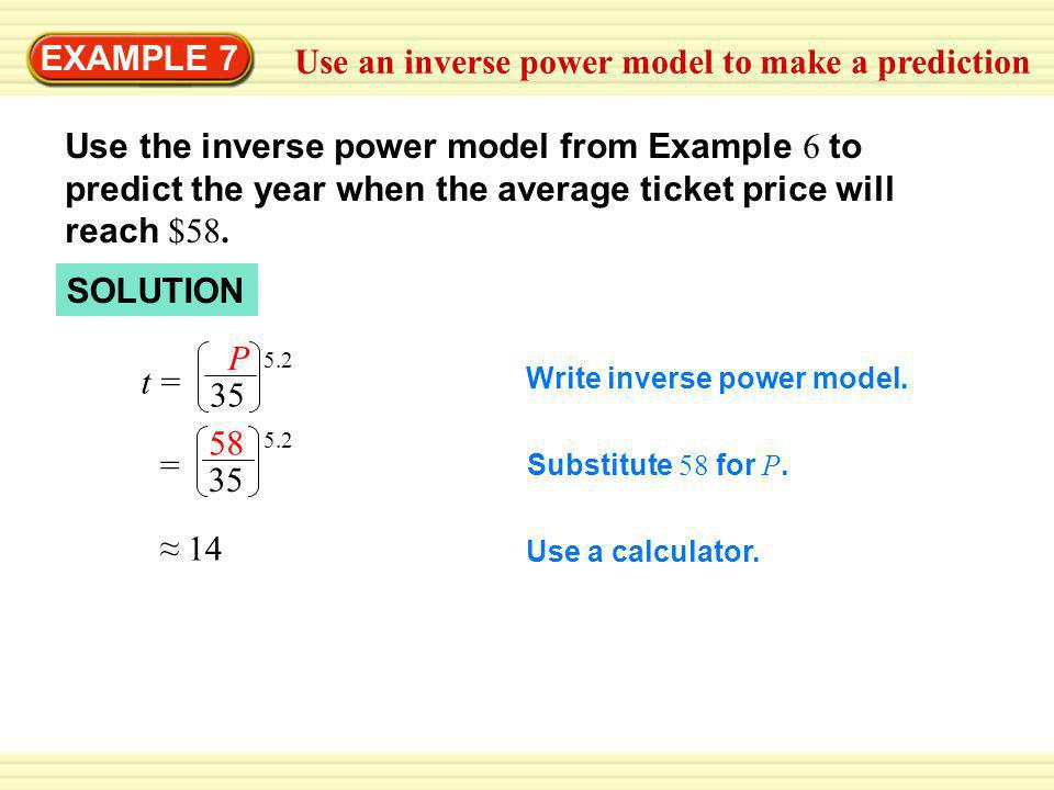 Use an inverse power model to make a prediction