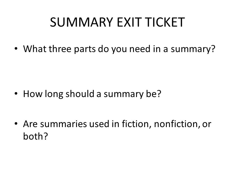 parts of a story exit ticket ppt