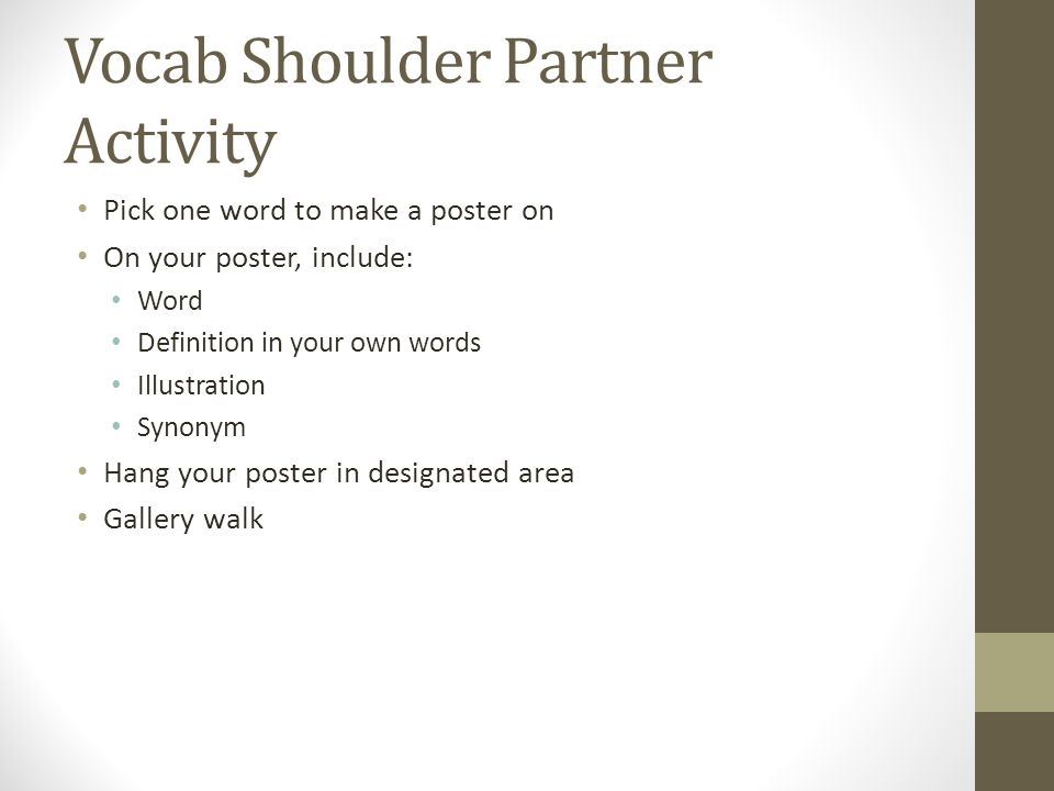 Vocab Shoulder Partner Activity