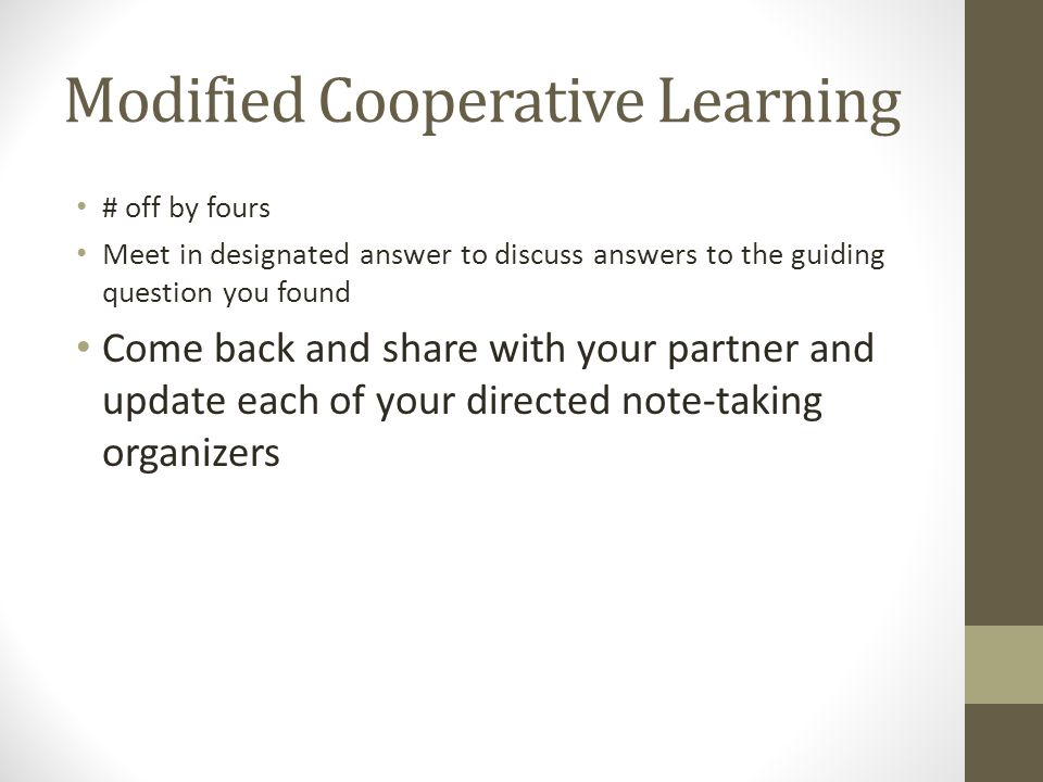 Modified Cooperative Learning