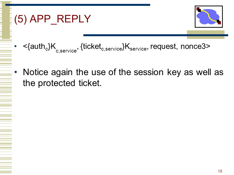 (5) APP_REPLY <{authc}Kc,service, {ticketc,service}Kservice, request, nonce3>