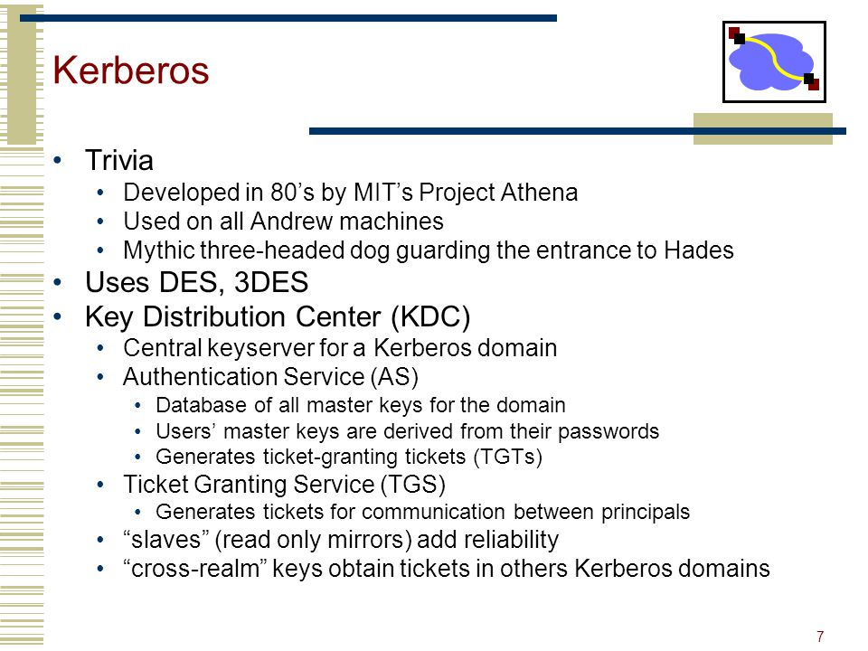 Kerberos Trivia Uses DES, 3DES Key Distribution Center (KDC)