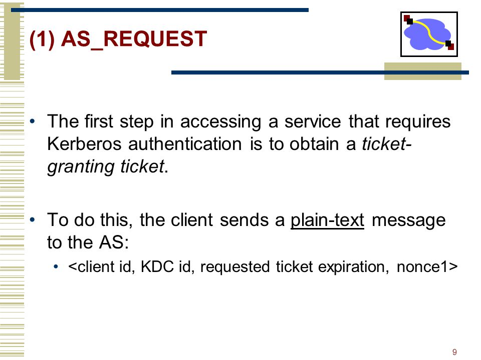 (1) AS_REQUEST The first step in accessing a service that requires Kerberos authentication is to obtain a ticket-granting ticket.
