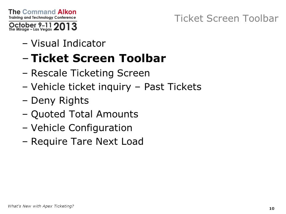Ticket Screen Toolbar Ticket Screen Toolbar Visual Indicator