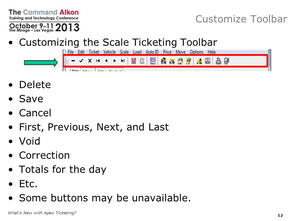 Customizing the Scale Ticketing Toolbar