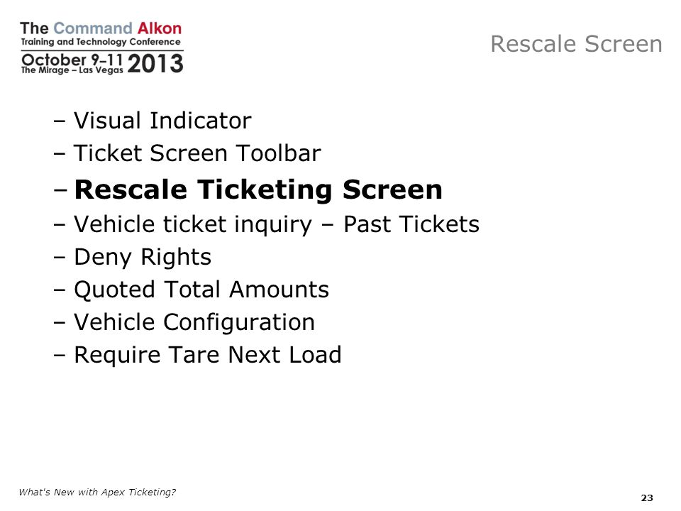 Rescale Ticketing Screen