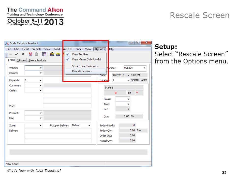 Select Rescale Screen from the Options menu.