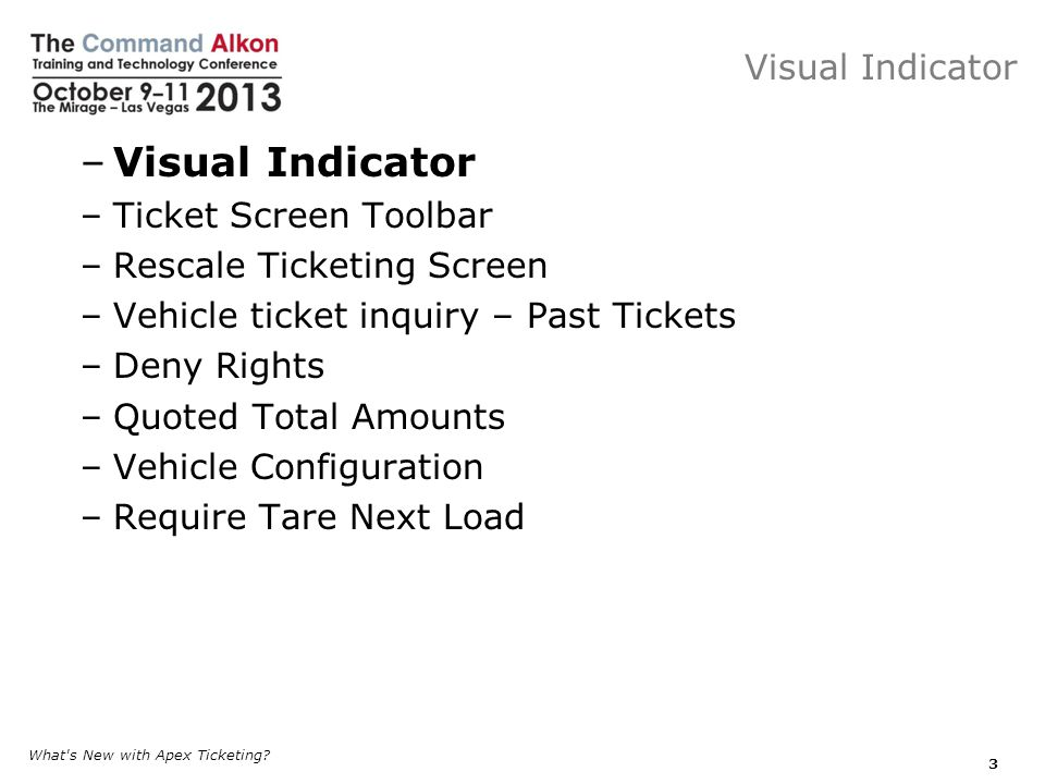Visual Indicator Visual Indicator Ticket Screen Toolbar