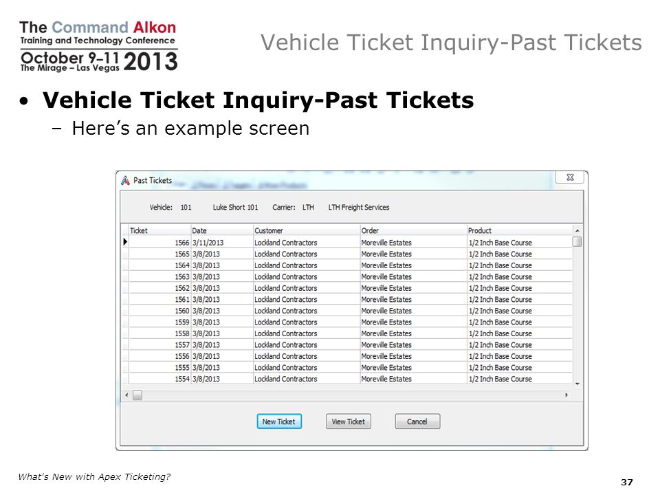 Vehicle Ticket Inquiry-Past Tickets