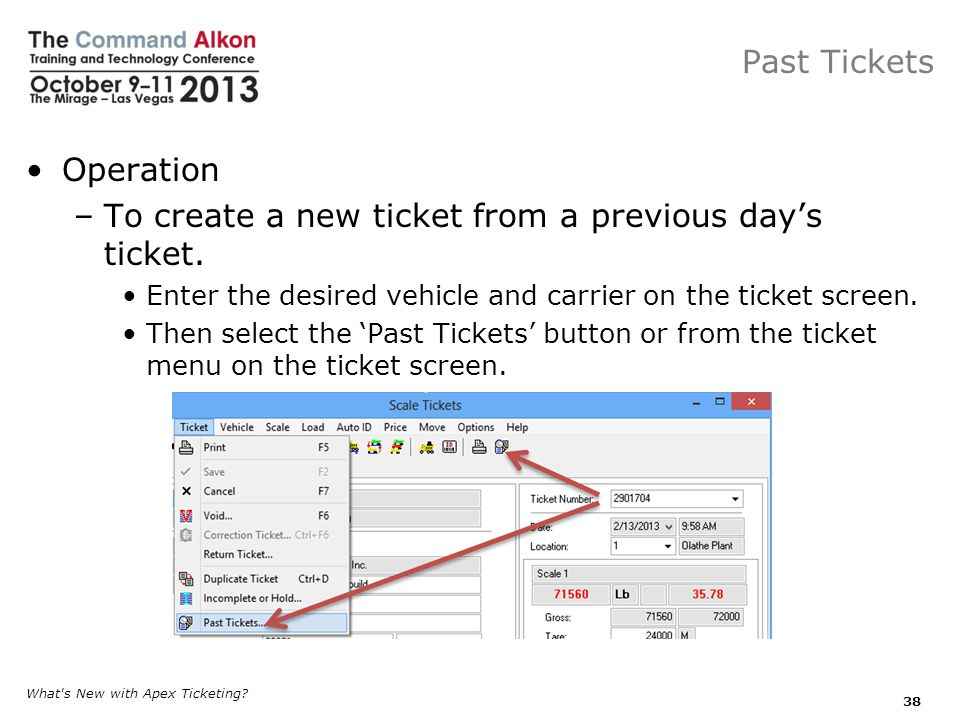 To create a new ticket from a previous day's ticket.