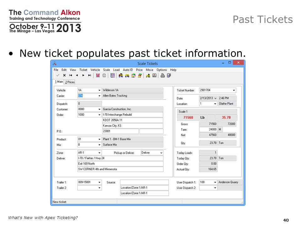 New ticket populates past ticket information.