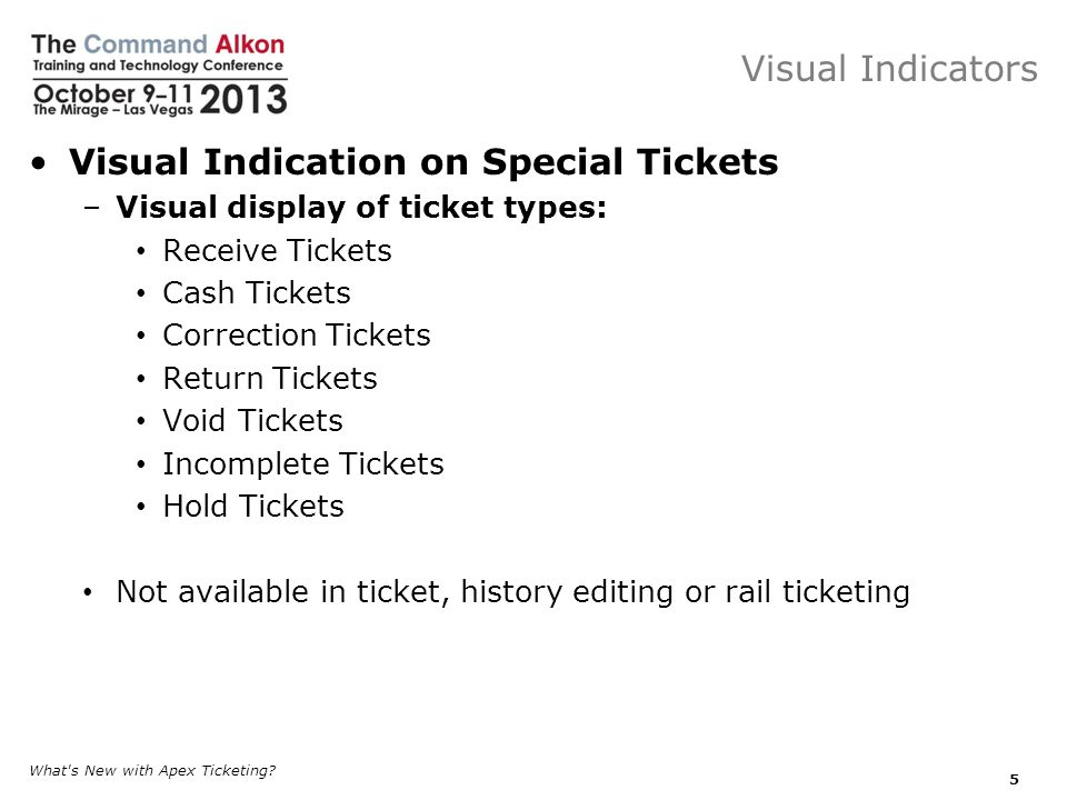 Visual Indication on Special Tickets