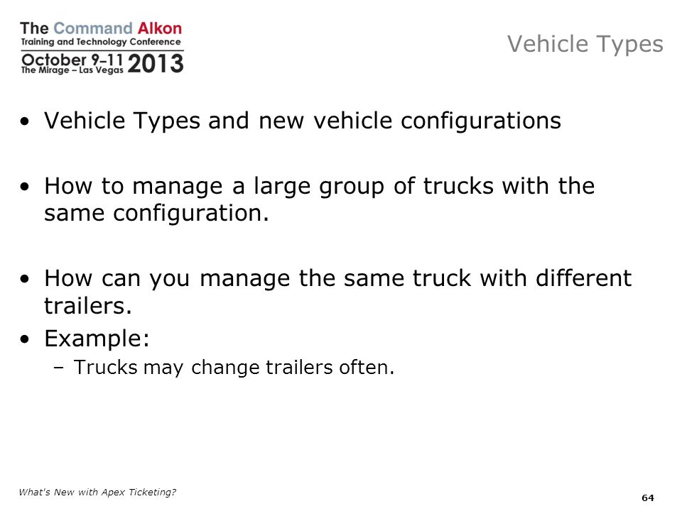 Vehicle Types and new vehicle configurations