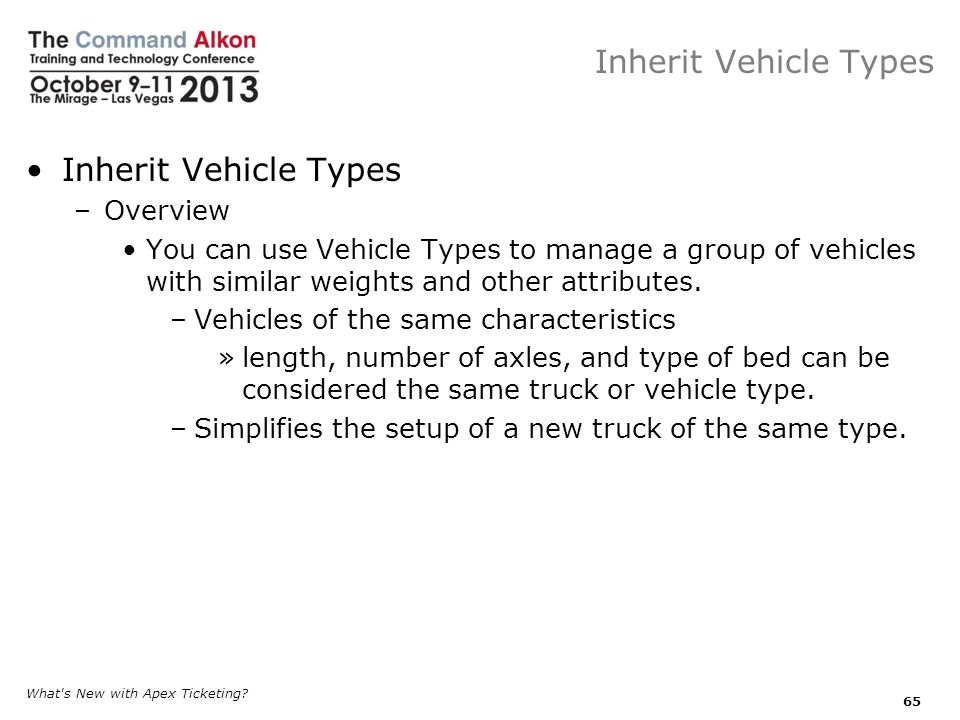 Inherit Vehicle Types Inherit Vehicle Types Overview