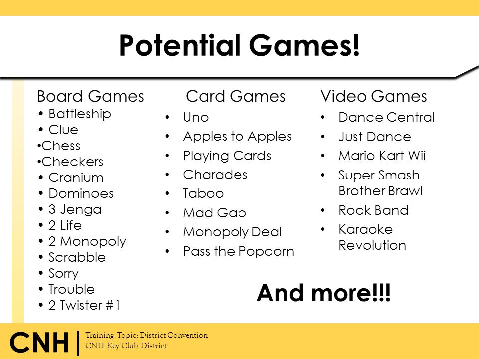 Potential Games! And more!!! Board Games Card Games Video Games