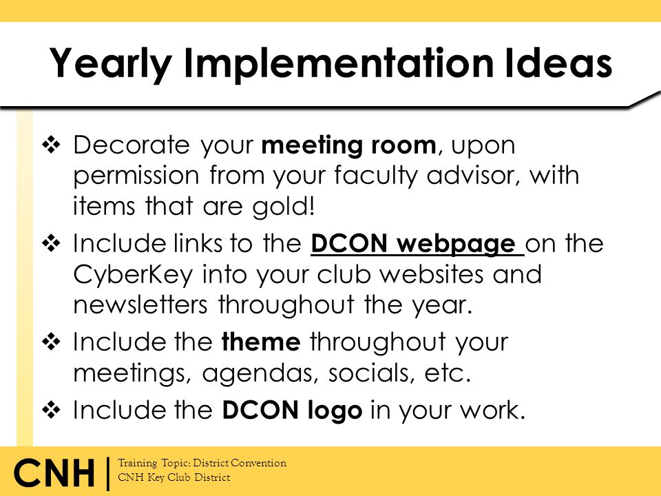 Yearly Implementation Ideas