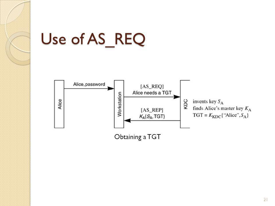 Use of AS_REQ Obtaining a TGT