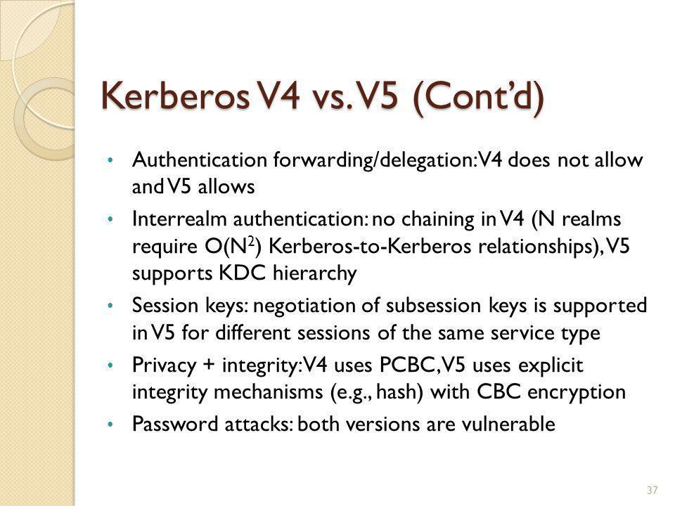 Kerberos V4 vs. V5 (Cont'd)