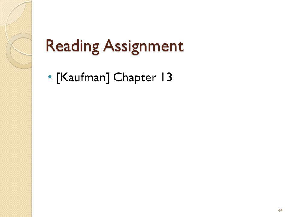 Reading Assignment [Kaufman] Chapter 13