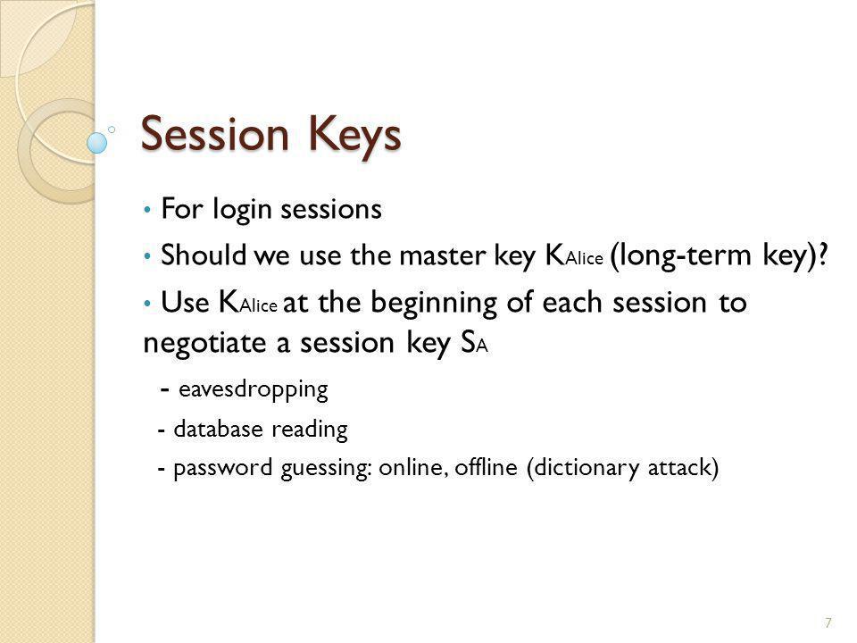 Session Keys For login sessions